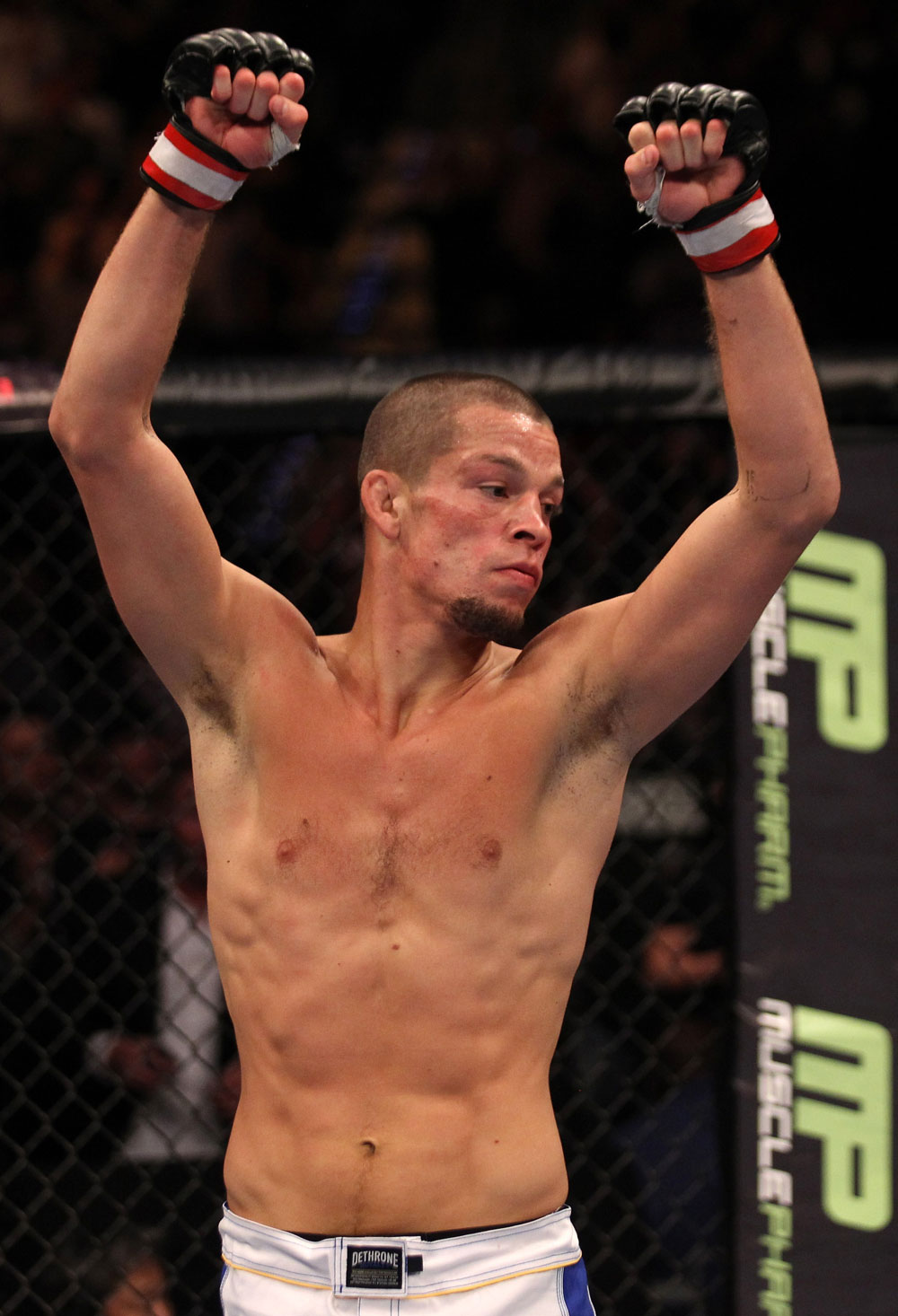 Nate Diaz celebrates his win