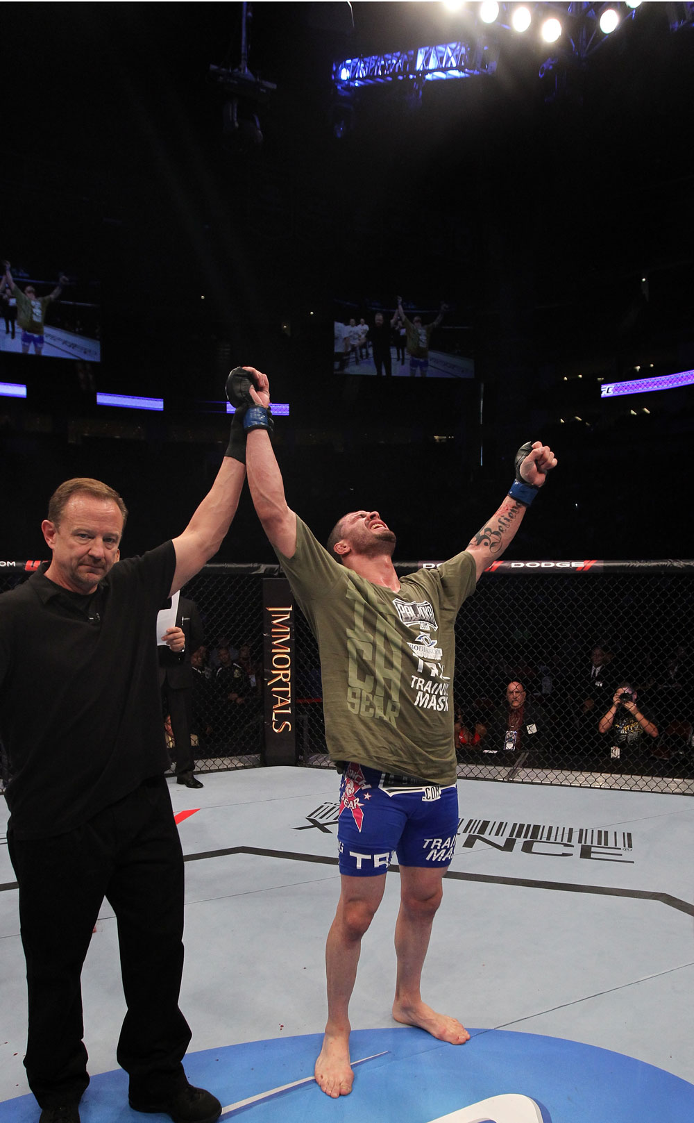 Mike Massenzio celebrates his win over Steve Cantwell