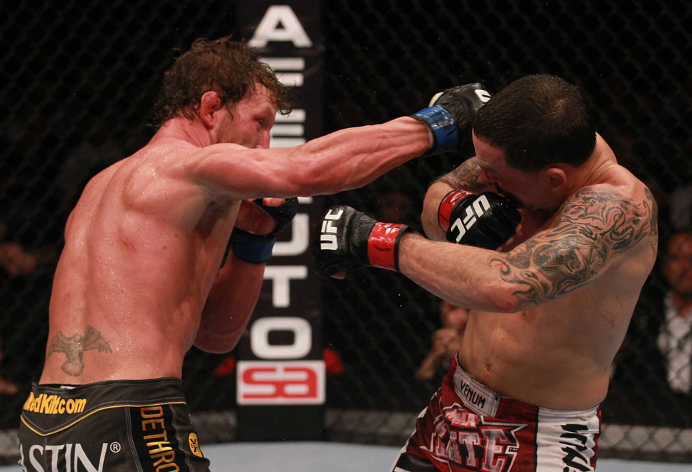 Gray Maynard punches Frankie Edgar during UFC 136 on October 8, 2011 in Houston, TX. (Photo by Nick Laham/Zuffa LLC)
