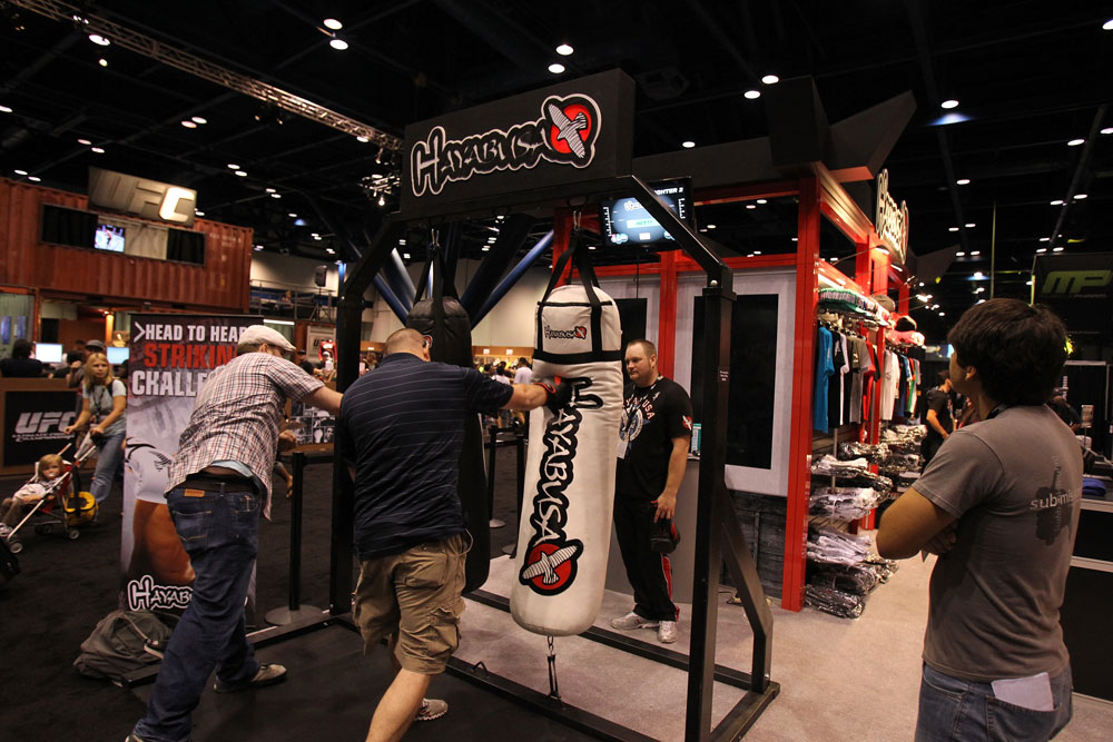 Fans take part in a striking challenge at the Hayabusa booth