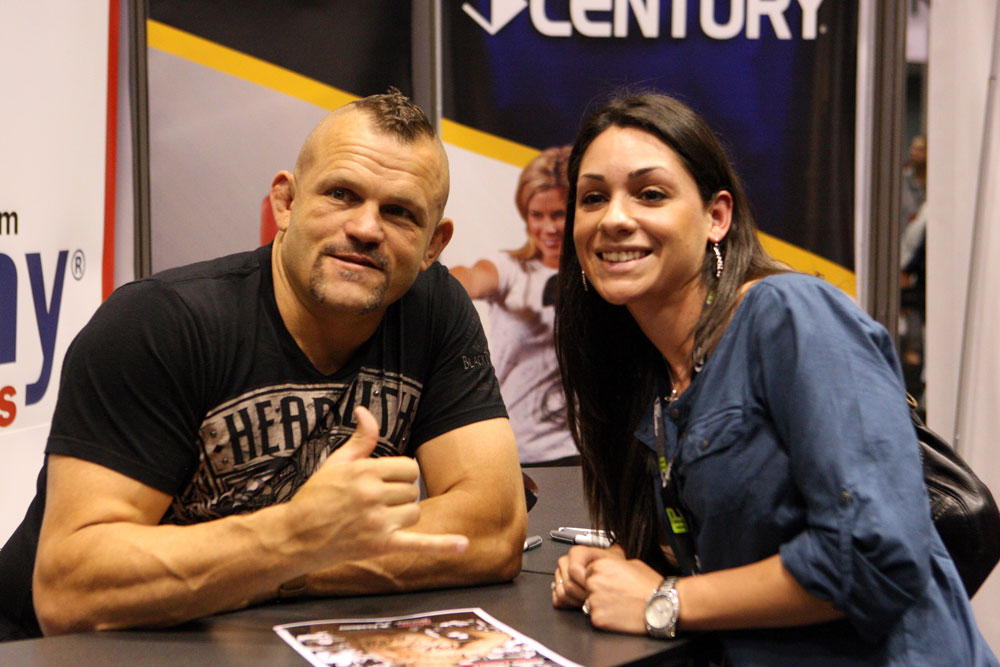 Chuck Liddell poses with a fan