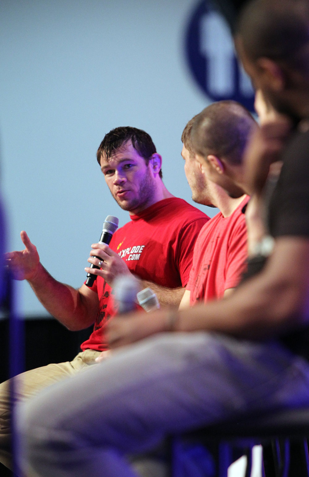 UFC Fighter Forrest Griffin speaks during a Q&amp;A session at the UFC Fan Expo