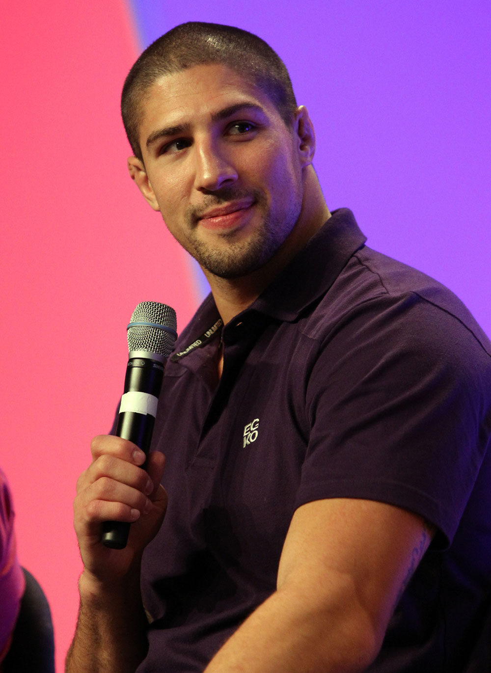 UFC fighter Brendan Schaub attends a Q&amp;A session with former cast members of The Ultimate Fighter on the main stage at the UFC Fan Expo