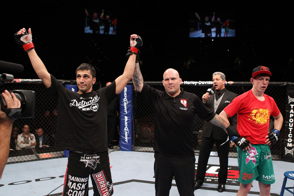 Ramsey Nijem celebrates his win over Dan Downes