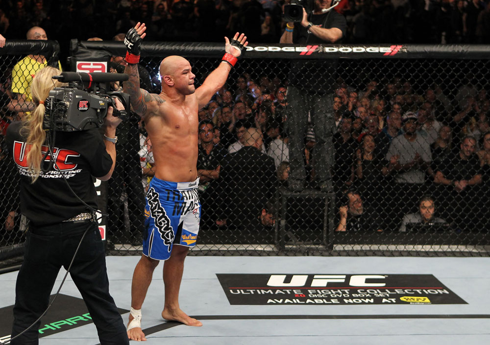 Thiago Alves celebrates his win