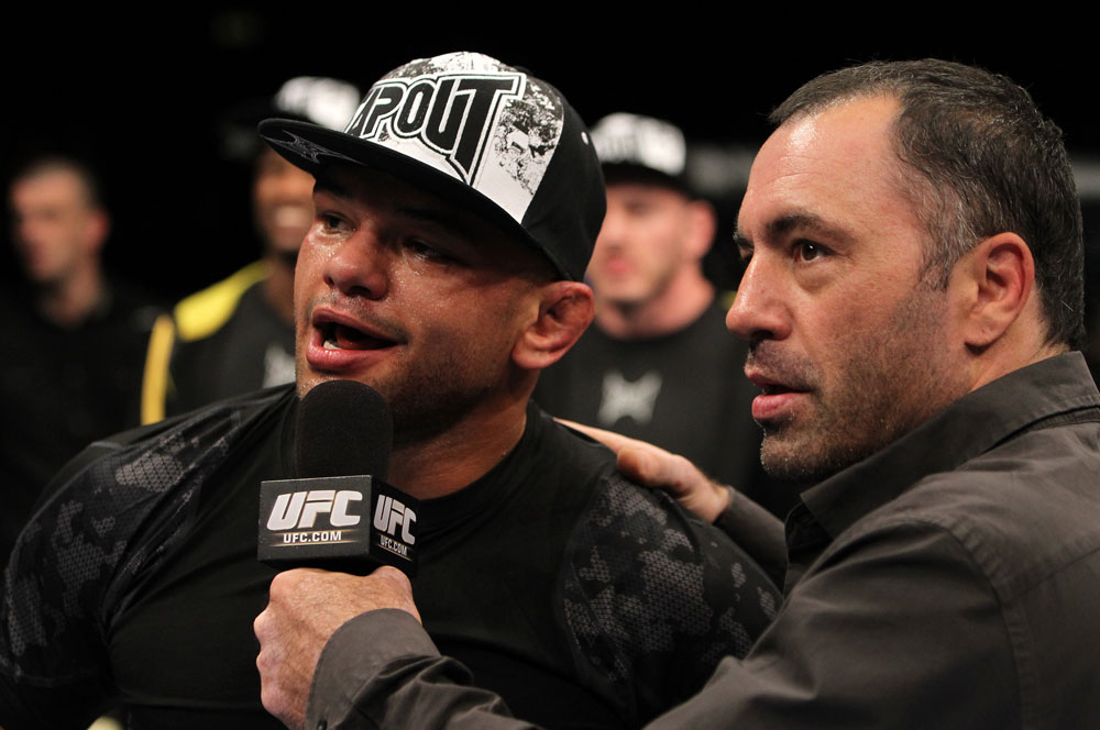 Thiago Alves with Joe Rogan after the fight