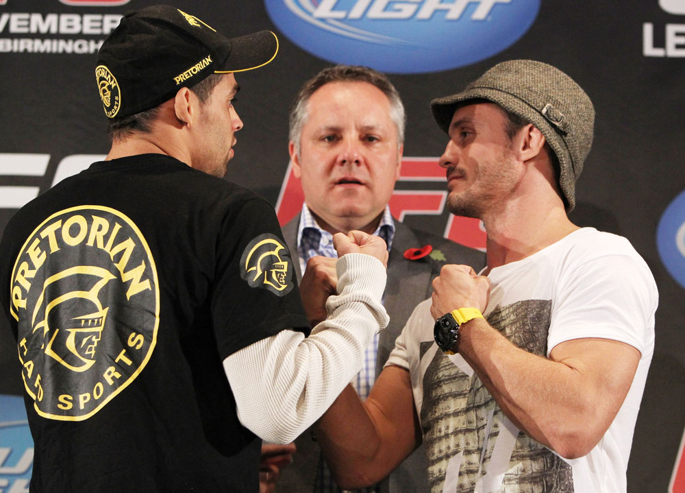 Renan Barao faces off with Brad Pickett