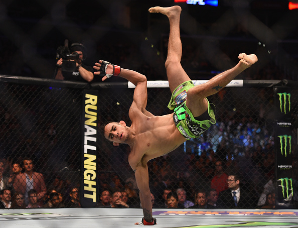 Tony Ferguson celebrates after defeating Gleison Tibau in their lightweight bout during the UFC 184 event at Staples Center on February 28, 2015 in Los Angeles, California. (Photo by Jeff Bottari/Zuffa LLC)