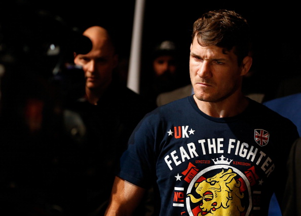 QUEBEC CITY, CANADA - APRIL 16:  Michael Bisping enters the arena before his middleweight fight against Tim Kennedy during the TUF Nations Finale at Colisee Pepsi on April 16, 2014 in Quebec City, Quebec, Canada. (Photo by Josh Hedges/Zuffa LLC/Zuffa LLC via Getty Images)