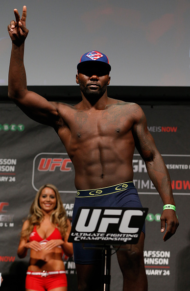 STOCKHOLM, SWEDEN - JANUARY 23:  Anthony Johnson of the United States weighs in during the UFC Fight Night Weigh-ins at the Hovet Arena on January 23, 2015 in Stockholm, Sweden. (Photo by Josh Hedges/Zuffa LLC/Zuffa LLC via Getty Images)