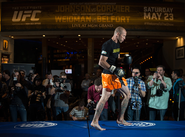 LAS VEGAS, NEVADA - MAY 20:   <a href='../fighter/Donald-Cerrone'>Donald Cerrone</a> holds an open training session for fans and media at the MGM Grand Hotel/Casino on May 20, 2015 in Las Vegas Nevada. (Photo by Brandon Magnus/Zuffa LLC/Zuffa LLC via Getty Images)