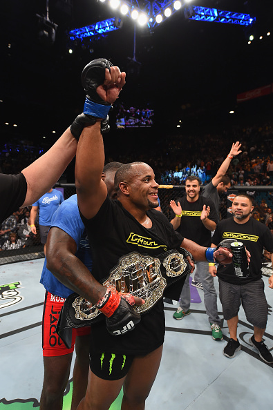 LAS VEGAS, NV - MAY 23:  Daniel Cormier reacts to his victory over Anthony Johnson in their UFC light heavyweight championship bout during the UFC 187 event at the MGM Grand Garden Arena on May 23, 2015 in Las Vegas, Nevada.  (Photo by Josh Hedges/Zuffa LLC/Zuffa LLC via Getty Images)