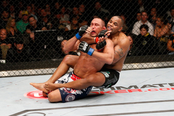<a href='../fighter/Daniel-Cormier'>Daniel Cormier</a> attempts to submit <a href='../fighter/Dan-Henderson'>Dan Henderson</a> during UFC 173 (Photo by Josh Hedges/Zuffa LLC via Getty Images)