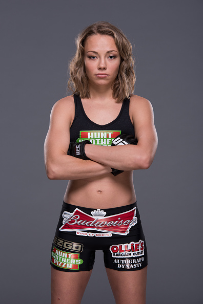 LAS VEGAS, NEVADA - MAY 21:  UFC women's strawweight Rose Namajunas poses for a portrait during a UFC photo session inside the MGM Grand Garden Arena on May 21, 2015 in Las Vegas, Nevada. (Photo by Jeff Bottari/Zuffa LLC/Zuffa LLC via Getty Images)