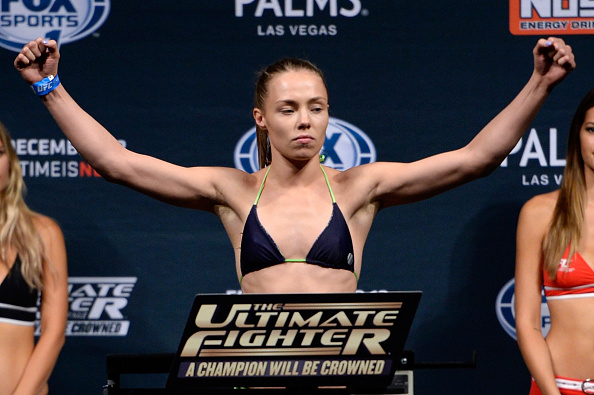 LAS VEGAS, NEVADA - DECEMBER 11:  UFC strawweight Rose Namajunas steps on the scale during The Ultimate Fighter Finale weigh-ins at the Palms Casino Resort on December 11, 2014 in Las Vegas, Nevada. (Photo by Jeff Bottari/Zuffa LLC/Zuffa LLC via Getty Images)