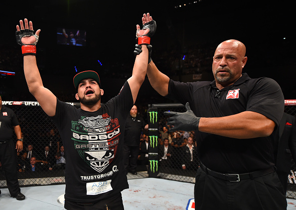MEXICO CITY, MEXICO - JUNE 13:  Kelvin Gastelum of the United States celebrates his victory over Nate Marquardt of the United States in their middleweight bout during the UFC 188 event at the Arena Ciudad de Mexico on June 13, 2015 in Mexico City, Mexico. (Photo by Josh Hedges/Zuffa LLC)