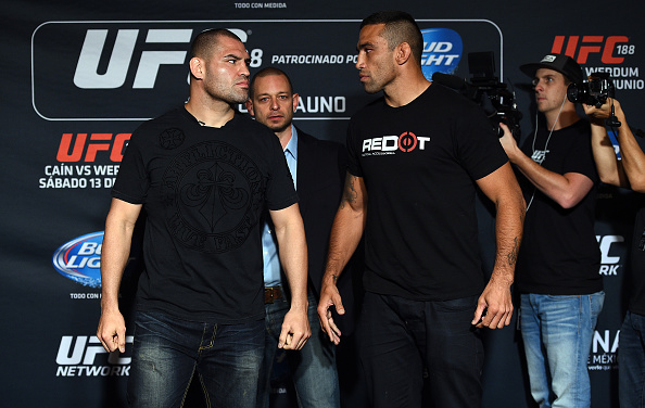 MEXICO CITY, MEXICO - JUNE 11: (L-R) UFC heavyweight champion Cain Velasquez and interim heavyweight champion Fabricio Werdum face off for the media during the UFC 188 Ultimate Media Day. (Photo by Jeff Bottari/Zuffa LLC)