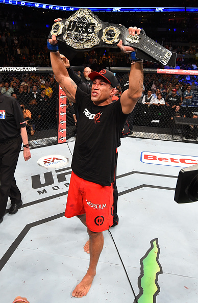 MEXICO CITY, MEXICO - JUNE 13: Fabricio Werdum of Brazil celebrates his submission victory over Cain Velasquez of the United States in their UFC heavyweight championship bout during the UFC 188 event inside the Arena Ciudad de Mexico. (Photo by Josh Hedges/Zuffa LLC)
