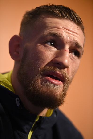 UFC featherweight Conor McGregor of Ireland interacts with media at Faneuil Hall on January 16, 2015 in Boston, Massachusetts. (Photo by Jeff Bottari/Zuffa LLC)