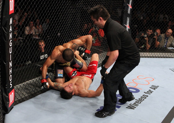 Jose Aldo punches Chad Mendes on the ground in a featherweight bout during UFC 142 at HSBC Arena on January 14, 2012 in Rio de Janeiro, Brazil. (Photo by Josh Hedges/Zuffa LLC)