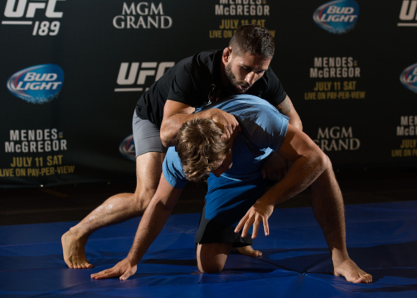 Chad Mendes holds an open training session for fans and media at MGM Grand Hotel & Casino on July 8, 2015 in Las Vegas Nevada. (Photo by Brandon Magnus/Zuffa LLC)