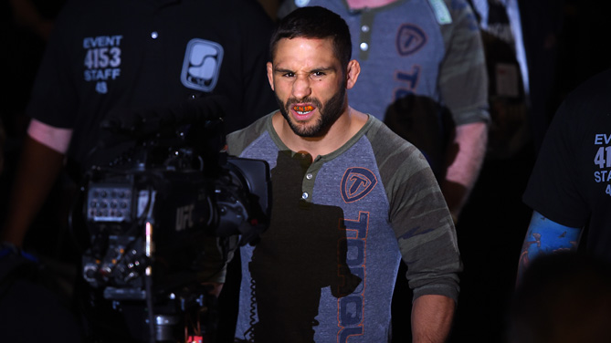 Chad Mendes enters the arena before facing Ricardo Lamas in their featherweight fight during the UFC Fight Night event at the Patriot Center on April 4, 2015 in Fairfax, Virginia. (Photo by Josh Hedges/Zuffa LLC)