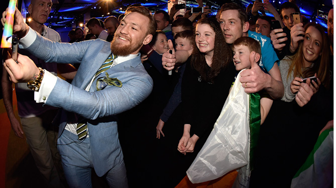 UFC featherweight title challenger Conor 'The Notorious' McGregor of Ireland interacts with fans during the UFC 189 World Championship Fan Event on March 31, 2015 in Dublin, Ireland. (Photo by Jeff Bottari/Zuffa LLC)