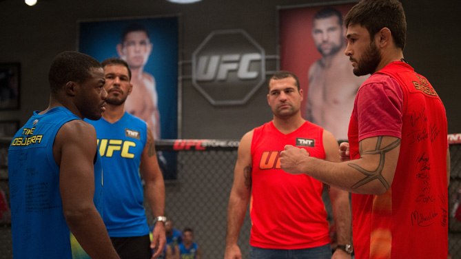 Fernando Acougueiro and Glacio Franca face off before they face each other in the finals during the filming of The Ultimate Fighter Brazil: Team Nogueira vs Team Rua on March 7, 2015 in Las Vegas, Nevada. (Photo by Brandon Magnus/Zuffa LLC)