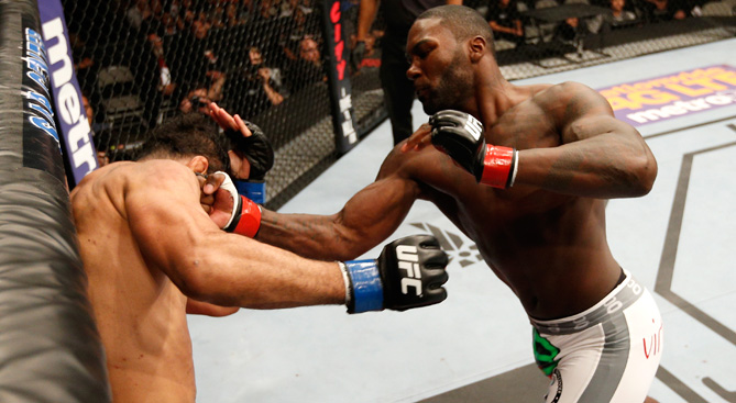 Anthony Johnson knocks out Antonio Rogerio Nogueira with a series of uppercuts in their light heavyweight bout during the UFC Fight Night event at SAP Center on July 26, 2014 in San Jose, CA. (Photo by Josh Hedges/Zuffa LLC)