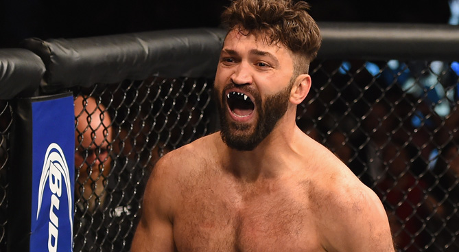 Andrei Arlovski reacts to his victory over Travis Browne in their heavyweight bout during the UFC 187 event at the MGM Grand Garden Arena on May 23, 2015 in Las Vegas, NV. (Photo by Josh Hedges/Zuffa LLC)