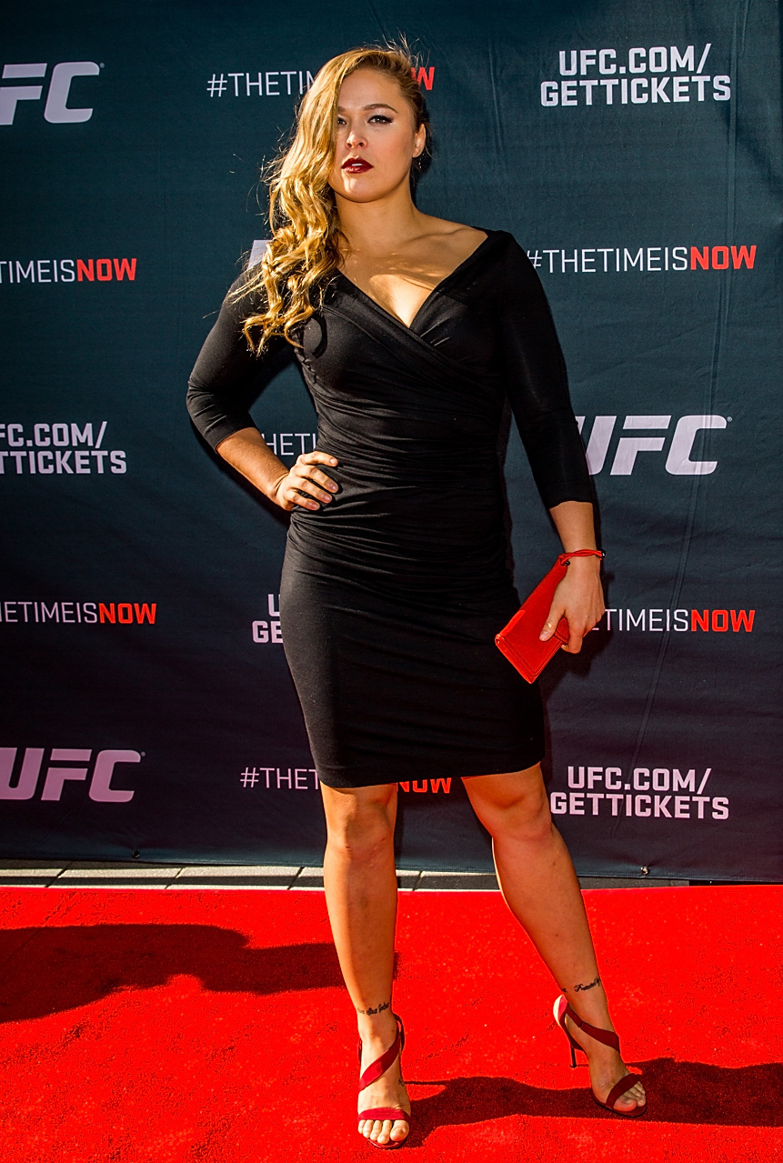 Ronda Rousey arrives at the UFC Time Is Now press conference at The Smith Center for the Performing Arts in Las Vegas.