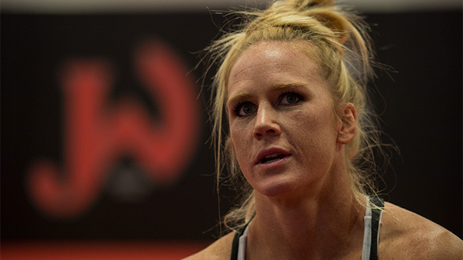 Holly Holm talks with her coach during her training at Jackson's Mixed Martial Arts & Fitness on October 30, 2015 in Albuquerque, New Mexico. (Photo by Brandon Magnus/Zuffa LLC)