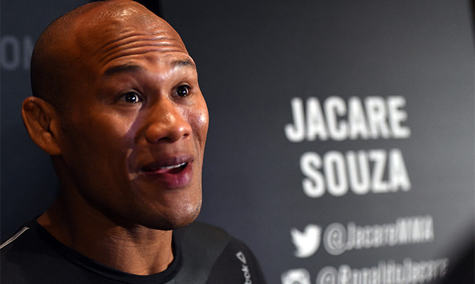 Ronaldo 'Jacare' Souza of Brazil interacts with media during the UFC <a href='../event/Ultimate-Brazil'>Ultimate </a>Media Day at MGM Grand Hotel &amp; Casino on December 9, 2015 in Las Vegas, Nevada. (Photo by Josh Hedges/Zuffa LLC)