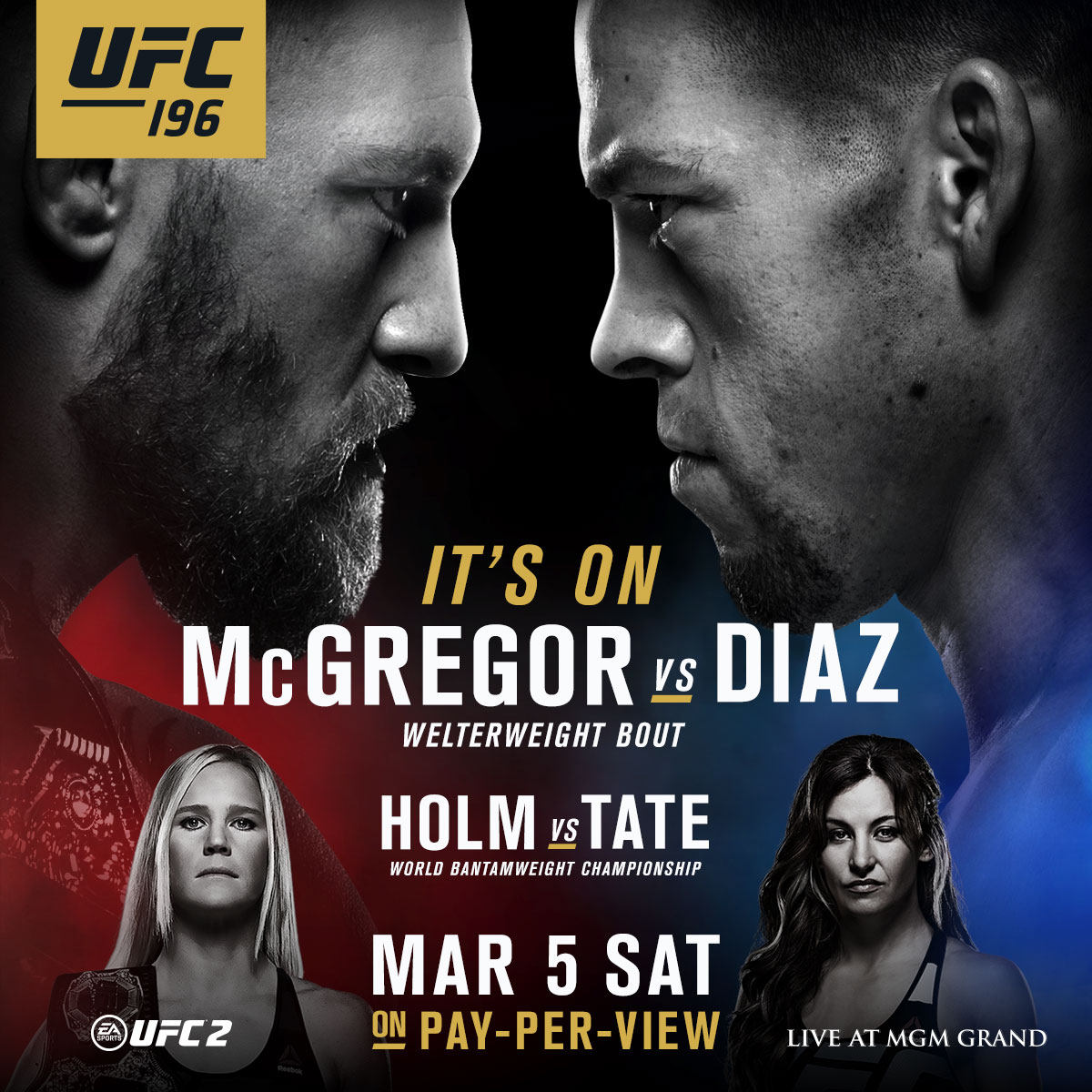 Don't miss Holm vs. Tate this Saturday at UFC 196. Pre-order the PPV or get tickets now