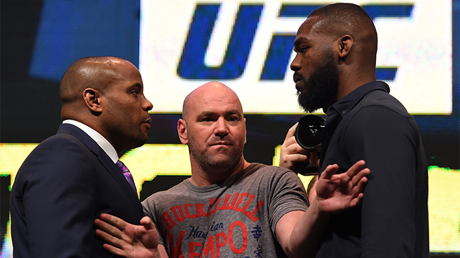 (L-R) Opponents Daniel Cormier and Jon Jones face off during the UFC Unstoppable launch press conference at the MGM Grand Garden Arena on March 4, 2016 in Las Vegas, Nevada. (Photo by Josh Hedges/Zuffa LLC)