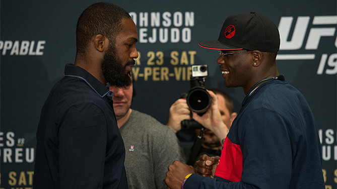 (L-R) Jon Jones and Ovince Saint Preux face off during the UFC 197: Ultimate Media Day at MGM Grand Hotel & Casino on April 21, 2016 in Las Vegas Nevada. (Photo by Brandon Magnus/Zuffa LLC)