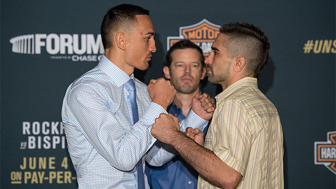 INGLEWOOD, CA - JUNE 02: (L-R) Max Holloway and Ricardo Lamas face off during the UFC 199: Ultimate Media Day at the Forum on June 2, 2016 in Inglewood, California. (Photo by Brandon Magnus/Zuffa LLC)
