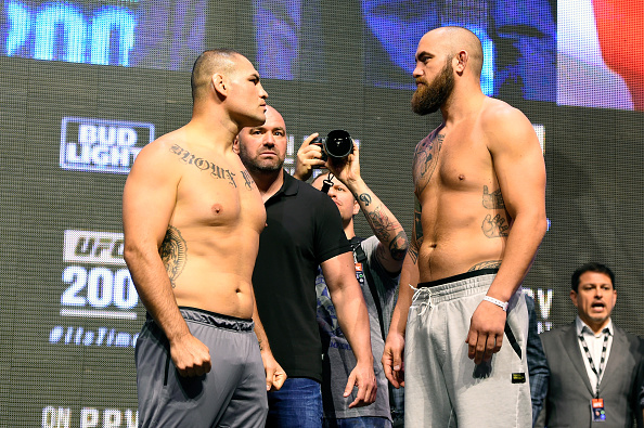 LAS VEGAS, NV - JULY 08:   (L-R) Opponents Cain Velasquez and Travis Browne face off during the UFC 200 weigh-in at T-Mobile Arena on July 8, 2016 in Las Vegas, Nevada. (Photo by Josh Hedges/Zuffa LLC)