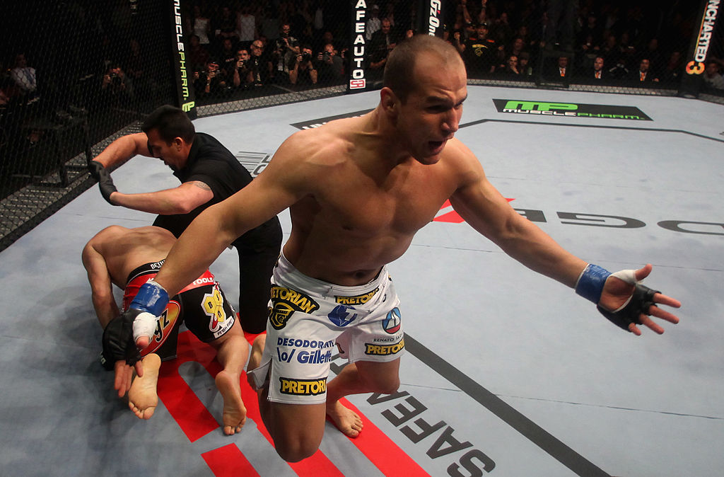 ANAHEIM, CA - NOVEMBER 12:  Junior dos Santos celebrates after punching to defeat Cain Velasquez by TKO in the first round of their Heavyweight Championship Title bout during the UFC on FOX event at the Honda Center on November 12, 2011 in Anaheim, California.  (Photo by Donald Miralle/Zuffa LLC)