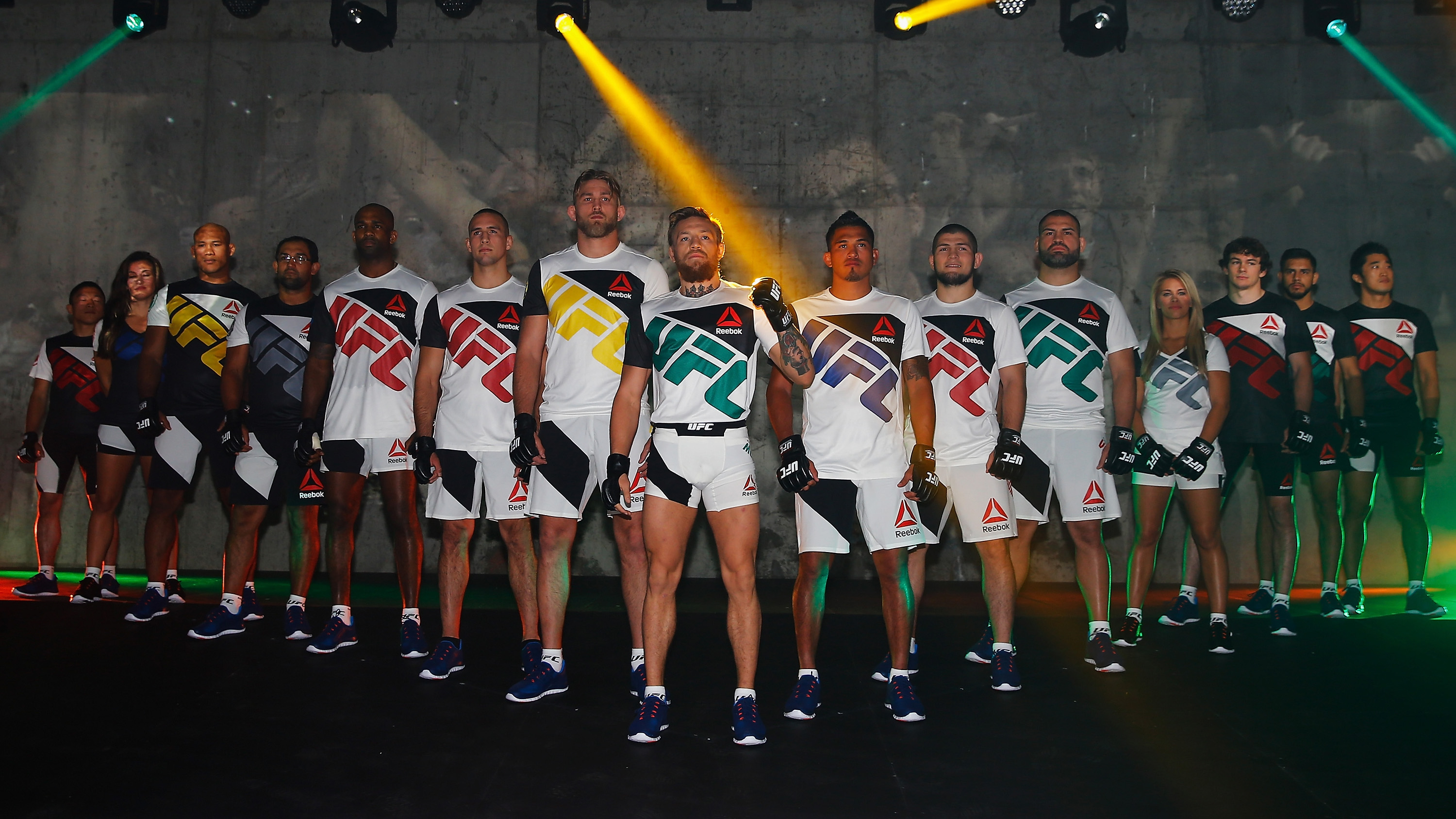 UFC athletes including Conor McGregor, Alexander Gustafsson, Anthony Pettis and more pose for a picture in the new Reebok fight kits at the unveiling press event.