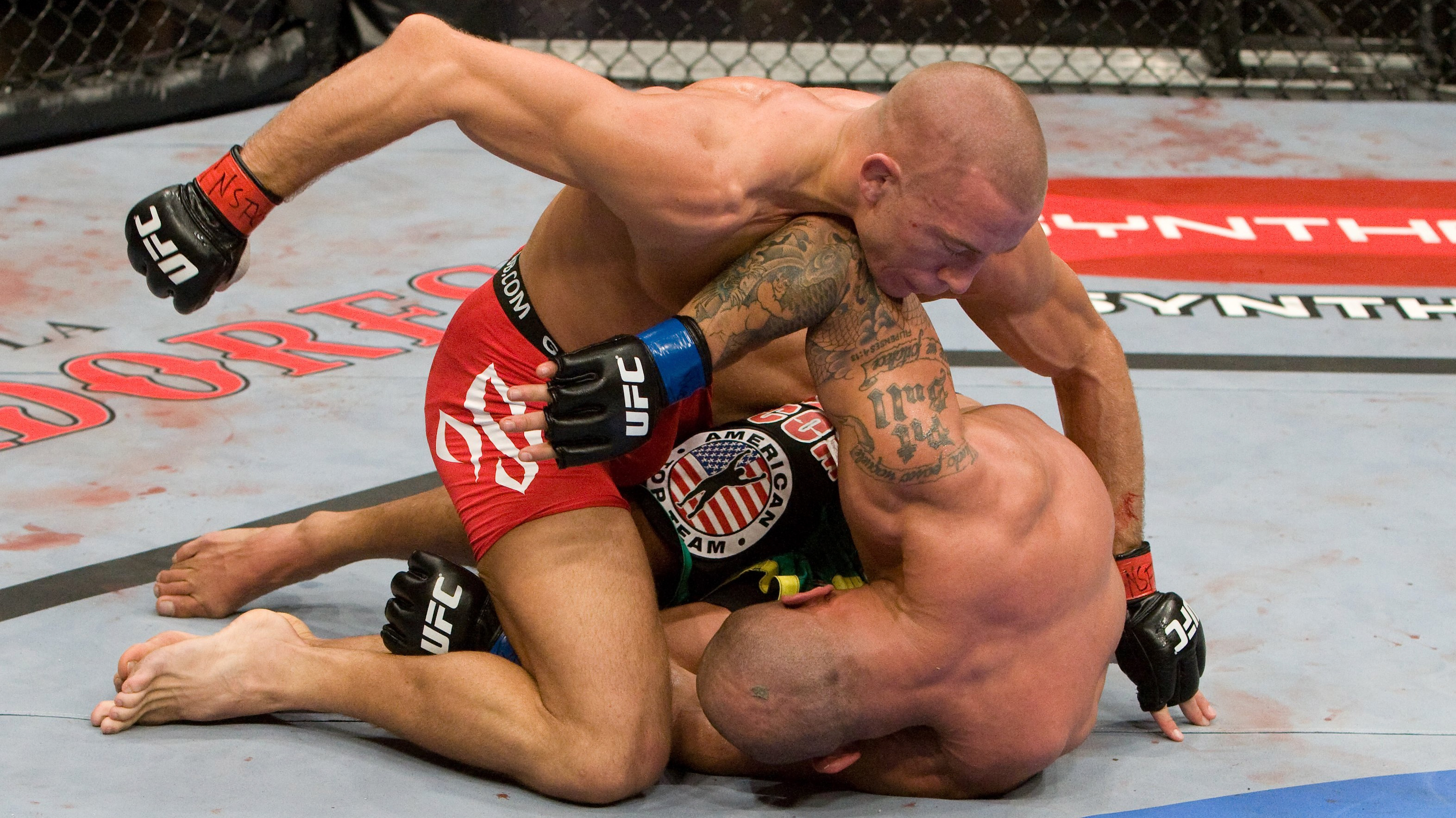 GSP in action during his UFC 100 victory vs Thiago Alves (Photo by Josh Hedges/Zuffa LLC via Getty Images)