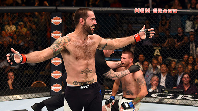 LAS VEGAS, NV - JULY 11: Matt Brown reacts to his victory over Tim Means in their welterweight fight during the UFC 189 event inside MGM Grand Garden Arena. (Photo by Josh Hedges/Zuffa LLC)