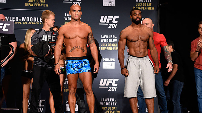 ATLANTA, GA - JULY 29: (L-R) Opponents Robbie Lawler and Tyron Woodley face off during the UFC 201 weigh-in at Fox Theatre on July 29, 2016 in Atlanta, Georgia. (Photo by Jeff Bottari/Zuffa LLC)
