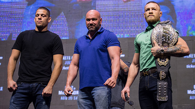 LAS VEGAS, NV - JULY 07: (L-R) <a href='../fighter/Nate-Diaz'>Nate Diaz</a> and <a href='../fighter/Conor-McGregor'>Conor McGregor</a> pose for a picture during the UFC 202 - Press Conference at TMobile Arena. (Photo by Brandon Magnus/Zuffa LLC)