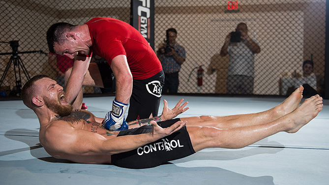 LAS VEGAS, NV - AUG. 12: UFC featherweight champion Conor McGregor holds an open training session. (Photo by Brandon Magnus/Zuffa LLC)