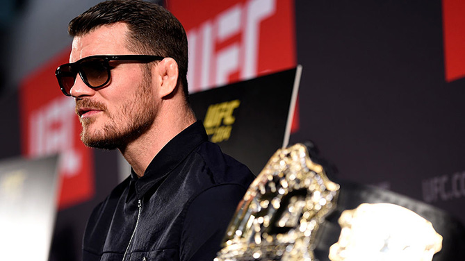 MANCHESTER, ENGLAND - OCT. 06: Michael Bisping of England interacts with media during the UFC 204 Ultimate Media Day at Manchester Central. (Photo by Josh Hedges/Zuffa LLC)