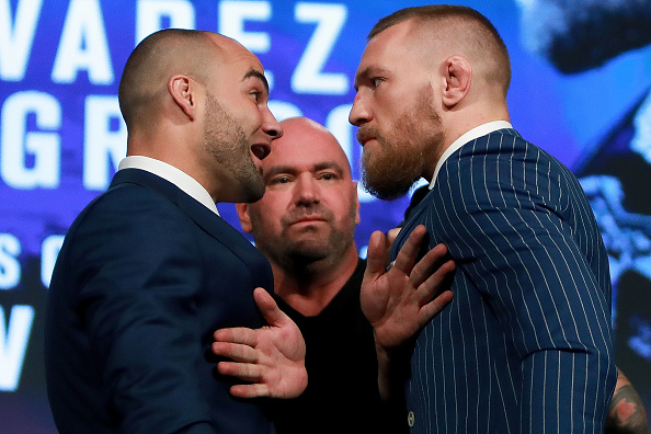 Eddie Alvarez and Conor McGregor exchange some trash talk at the UFC 205 Tickets on Sale Press Conference