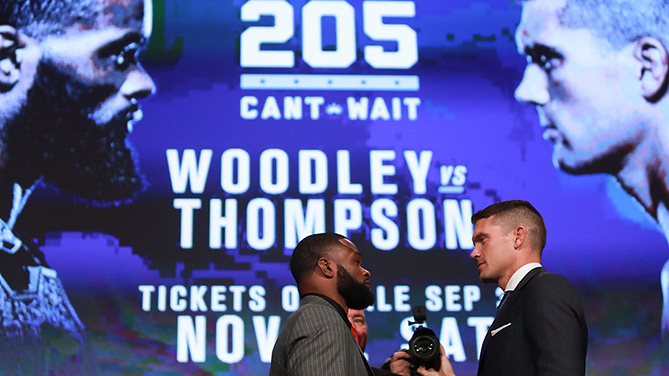 NEW YORK, NY - SEPT. 27: Tyron Woodley and Stephen Thompson face off during the UFC 205 press conference at The Theater at Madison Square Garden.  (Photo by Michael Reaves/Getty Images)
