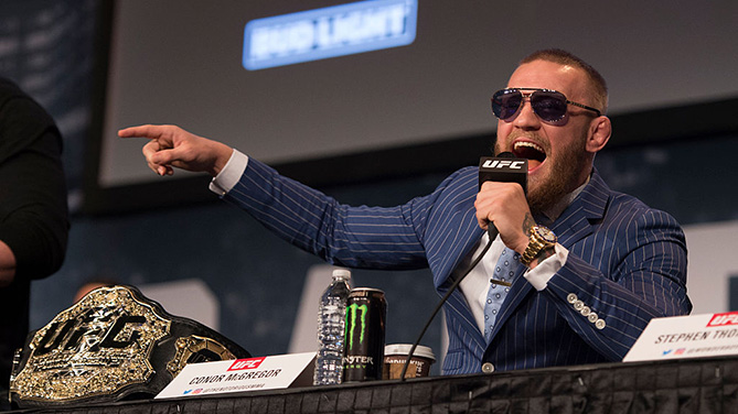 NEW YORK, NY - SEPT. 27: UFC featherweight champion Conor McGregor of Ireland interacts with the media and fans during the UFC 205 press event at Madison Square Garden. (Photo by Jeff Bottari/Zuffa LLC)