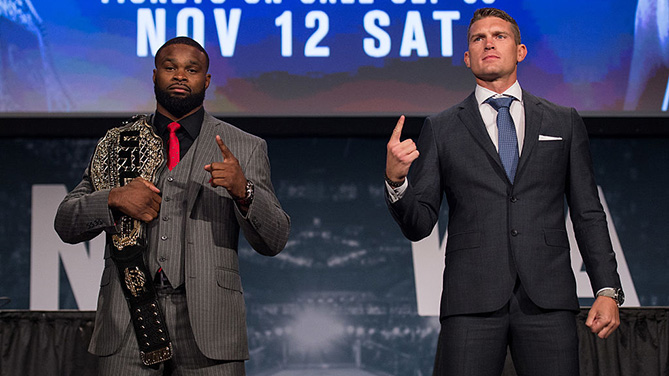 NEW YORK, NY - SEPT. 27: (L-R) UFC welterweight champion Tyron Woodley and Stephen Thompson pose for a picture during the UFC 205 press event at Madison Square Garden. (Photo by Brandon Magnus/Zuffa LLC)